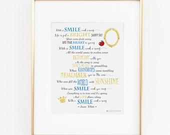 Snow White |Disney Princess |Snow White Birthday |Snow White Quote Printable Art |Disney Quote |Disney Home Decor |Disney| Instant Download