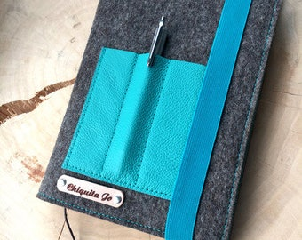 Calendar-book cover · Felt & leather · BROWN/TURQUOISE