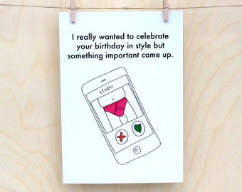 Funny birthday card, funny card, funny tinder card