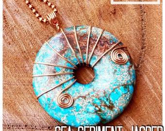 Light Blue Sea Sediment Jasper and Pyrite Gemstone Pendant with Copper Wire Wrap