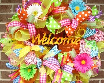 Welcome Wreath, Year Round Wreath, Spring Wreath, Summer Wreath, Mesh Wreath, Mesh Door Wreath, Mesh Spring Wreath, Mesh Welcome Wreath