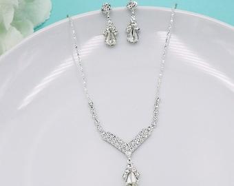 Rhinestone Jewelry Set, Crystal Wedding Necklace Set, bridal jewelry set, wedding jewelry set, bridesmaid jewelry set 210709130