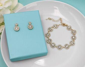 Gold Earrings Bracelet Set, Crystal wedding bracelet, Bridesmaid bracelet, Gold Crystal Bracelet, bridal jewelry, Carolina Gold Bracelet Set