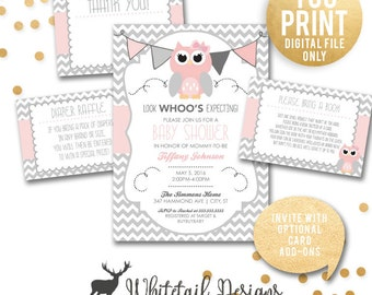 owl baby shower invitation girl owl shower pink and grey owl shower invite