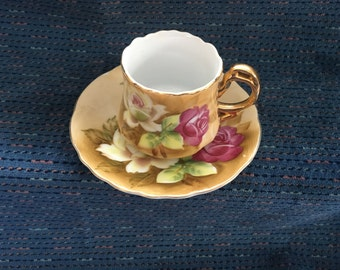 Lefton China Handpainted Demitasse Tea Cup & Saucer, NE2635, Porcelain, 1950s, Espresso Cup Saucer, Gold Trim