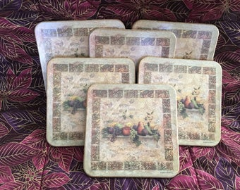 Pimpernel Coasters, Pimpernel Tuscan Palette Coasters, England, Rustic Coasters, Tile Look, Tuscan Palette, Cork Backed Coasters, Set of 6