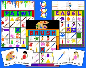 Painting Art Party Bingo 30 Printable Cards INSTANT DOWNLOAD