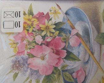 Hallmark Cards - Flower Bouquet - blank inside - with envelopes -NIP -