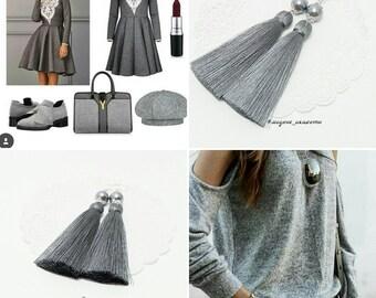 Tassel Earrings, Gray Earrings, Long Tassel Earrings, Luxury Tassel Earring, Silky Tassel Jewelry, Grey Tassel Earrings