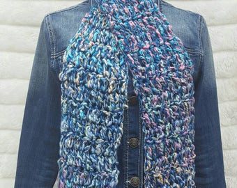 Hand Crocheted Scarf blues pinks and cream colors