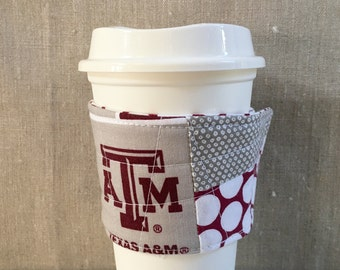 Reusable Fabric Coffee Sleeve - Texas A&M Fabric
