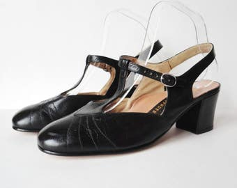 Black 60s DEADSTOCK Vintage Slingback Shoes With T-Strap // Salamander Leather Shoes // Size EU 39,5 // Made In Western Germany