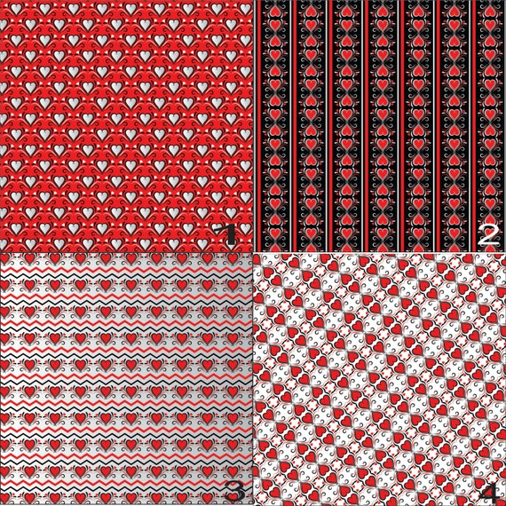 Valentine Hearts Arrows Stripes Red Black Love Prints Adhesive Vinyl, HTV or Glitter HTV. Choice of 3 sizes. 6x6, 6x12 or 12x12