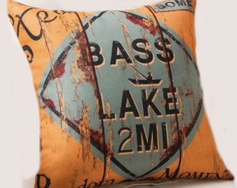 Vintage Sign Bass Lake 2 Miles - Pillow cover