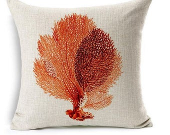 Red Coral Ocean- Pillow Cover