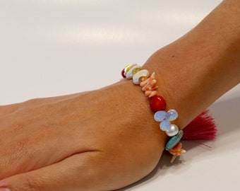 Pearl, coral, opalite & turquoise with pink tassle bracelet