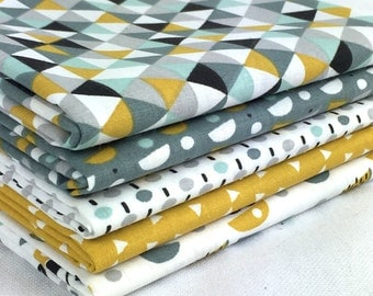 Set of 5 patchwork fabric patches Trendy Mustard / Blue 50 x 50 cm