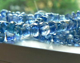 Blue Kyanite gemstone rondelle faceted beads- 4-5mm beads-3in, 6in  strand- Jewelry beads supply- Blue kyanite beads- Stone beads