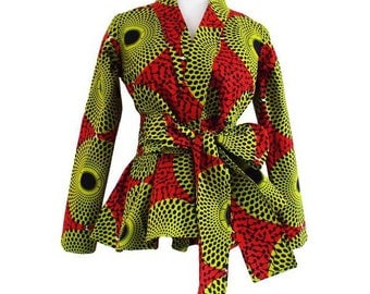 Diola African Print Blazer (Dark Orange/Green)