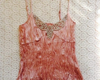romantic dusty pink camisole/vintage pink camisole/tank top/boho hippie top/woodland/bead top/edwardian victorian top/embellished blouse/s/m