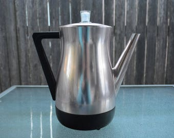 West Bend Pink Aluminum Electric 8 Cup Coffee Percolator * Flavomatic Coffee Maker * Mid Century Electric Coffee Maker * Electric Percolator
