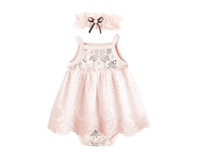 SUMMER SPECIAL! Baby Girl Outfit, Newborn Girl Coming Home Outfit Summer Baby Girl pink Eyelet Dress, Pink Flamingo Dress, BH51EFLBH0000