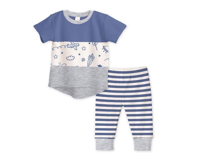 SUMMER SPECIAL! Baby Boy Outfit, Baby Boy Tshirt & Pants, Baby Boy Pants, Baby Shower Gift,  Airplane, Blue and Gray, Tesababe TL120IOSK0000