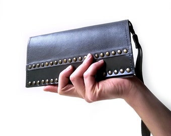 Leather Wristlet Clutch Wallet. Grey cell phone wallet with studs. Cell Phone Purse with studs in gray leather. Grey leather wallet clutch.