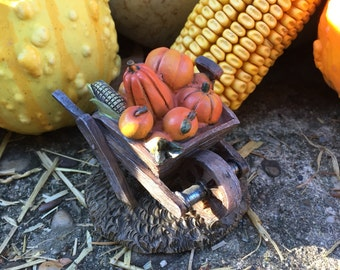 Miniature Dollhouse or Fairy Garden Wheelbarrow With Pumpkins and Corn - Miniature Garden - Miniatures -Garden Miniatures -Minature Pumpkins
