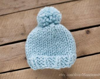 Twin Set of 2 Classic Blue Newborn Pom Pom Hat, Sparkle Blue Newborn Hat, Newborn Pom Pom Hat, Knit Newborn Hat, Pom Pom Newborn Hat, Bulky