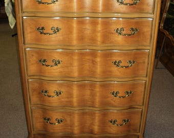 Cherry French Provincial Dresser and Highboy Chest of Drawers, 1950's