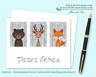 Free Ship!  Set of 12 Personalized / Custom Notecards, Boxed, Blank Inside, Bear, Deer, Fox, Monogram, Name, Initials