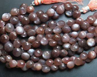 8 Inches Full Strand, Super Finest Cut, Chocolate Moonstone Faceted Onion Briolettes, Size 8-9mm