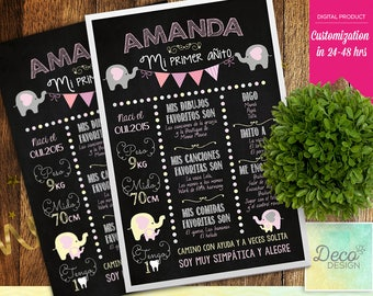 First Birthday Chalkboard Sign Poster -First Birthday - Perzonalized - Printable - cute elephants