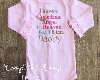 Guardian Angel in Heaven Monogrammed Shirt or Onesie