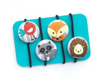 Fabric Covered Button Hair Tie (Set of 4) - Animal Jam, Woodland Theme, Back to School, Party Favor, Ponytail Holders, Gift Idea