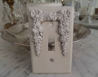 Vintage French Ornate Bows Roses Swags Barbola Lightswitch Plate Cover Shabby Chic