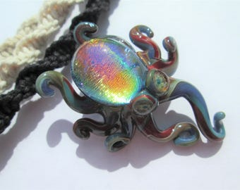 Octopus - Awesome Rainbow Dichroic Glass Octopus Pendant on Handmade Hemp Necklace in Your Choice of Hemp Color- OOAK Rainbow Glass Octopus