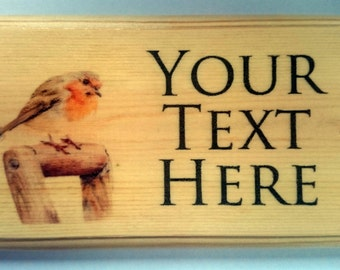 Personalised Robin Plaque / Sign / Gift - Garden Shed Grandad Nanny House