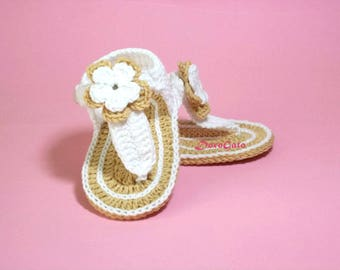 Crochet Baby Sandals Pattern, Tutorial crochet slippers, double soles, Baby Gladiator Sandals, Flip Flops pattern, Instant download /4008