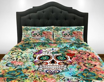 Sugar Skull Bedding,  Comforter COVER,  Duvet Cover,Twin Queen King,  Teal Abstract  Skull Bedding Duvet