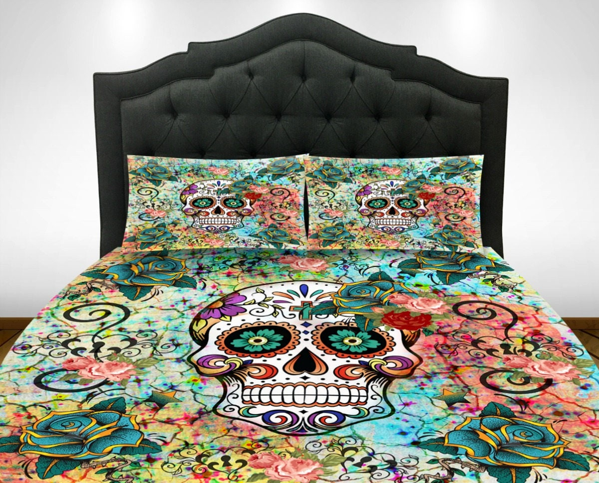 Sugar Skull Bathroom Decor Sugar Skull Bedding Etsy