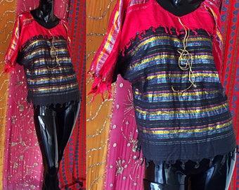 Indian Tunic India Gauze Tunic India Metallic Gauze Tunic 70s India Rainbow Tunic