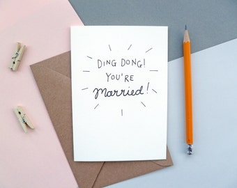 Ding Dong You're Married! | Wedding | Congratulations | Greetings Card | Hand-lettered Design