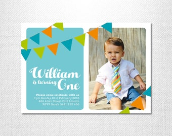 Bunting Birthday Invitation ~ First birthday invitation ~ Birthday Boy ~ 1st birthday invitation ~ Photo invitation ~ Modern ~ Flags