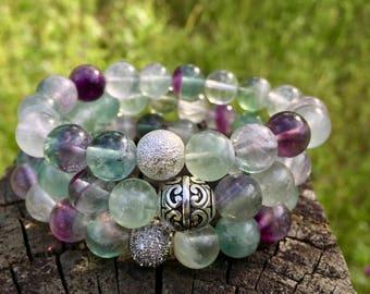 Fluorite Jewelry- Rainbow Fluorite Bracelet- Natural Fluorite Gemstone Bracelet- Gift for Her- Beaded Gemstone Bracelet- Graduation Gift