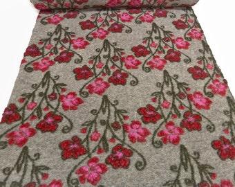Fabric. Musterwalk Walken Loden relief beige flowers red pink olive - BN-10-1076