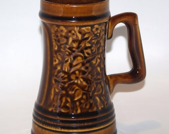 Polish Ceramic Brown Beer Mug Vintage 1973 Poland Vintage Made in Poland stein potful pint leaves floral pottery beer jug tankard Beer Stein