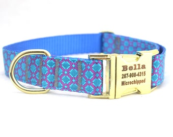Dog Collar with Personalized Buckle, Chinese Shiny SILK brocade