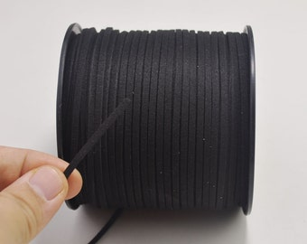 2.7mm Black Faux Suede Leather Cord,100 yards(One Roll) Microfiber,Vegan Suede,DIY Cord Supplies,Flat Faux Suede Cord,Supplies --15#